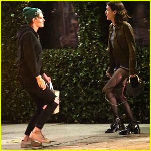 Kristen Stewart & Emma Roberts Do a Little Dance on the Street After Dinner!