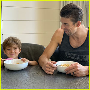 Michael Phelps & Son Boomer Help to Launch Life Cereal Contest - See the Adorable Pics!