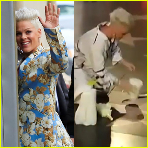 Pink Cleans Her Star on Hollywood Walk of Fame!