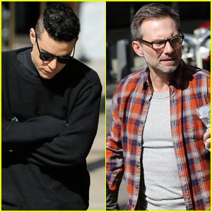 Rami Malek & Christian Slater Film 'Mr. Robot' in NYC