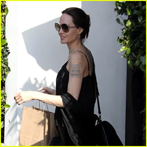 Angelina Jolie Goes Casual for Lunch at Cecconi's