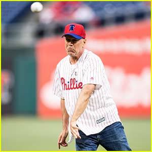 Bruce Willis' Phillies First Pitch Didn't Go as Planned - Watch Now!