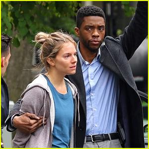 Chadwick Boseman Handcuffs Sienna Miller on '21 Bridges' Set