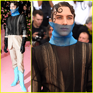 Cody Fern Wears Unique Suit With Blue Cowboy Boots to Met Gala 2019