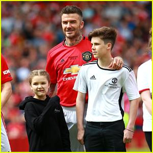 Romeo & Harper Beckham Join Dad David Beckham on the Field at Charity Soccer Match!