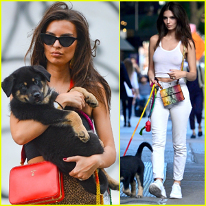 Emily Ratajkowski Steps Out with New Puppy Colombo in NYC!