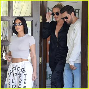 Kim & Khloe Kardashian Go Shopping with Scott Disick & Their Camera Crew