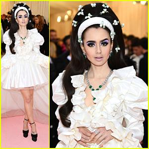 f588e07bfe Lily Collins Rocks Priscilla Presley Like Bouffant For Met Gala 2019 ...