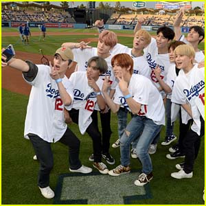 NCT 127 Members Throw First Pitch at LA Dodgers Game!