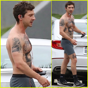 Shia LaBeouf Bares Ripped, Tattooed Torso Going Shirtless in His Underwear!