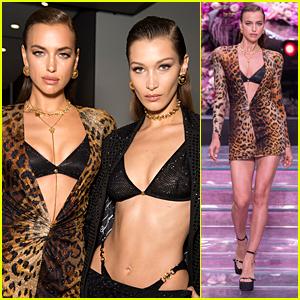 Irina Shayk Stuns in Versace's Milan Show Next To Bella & Gigi Hadid