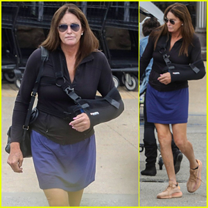 Caitlyn Jenner Wears an Arm Sling & a Skirt on a Grocery Shopping Trip