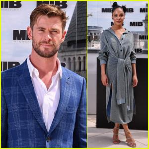 Chris Hemsworth & Tessa Thompson Team Up for 'Men in Black: International' Photo Call!