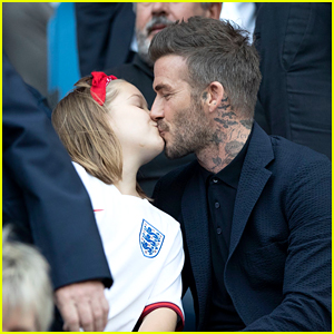 David Beckham Shares a Kiss with Daughter Harper at Women's World Cup Game