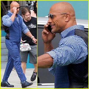 Dwayne Johnson Looks Sharp While Filming 'Ballers' in Santa Monica