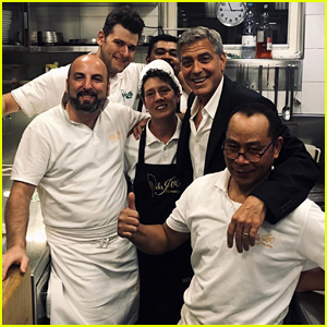 George Clooney Meets the Kitchen Staff After a Romantic Dinner Date With Amal in Italy