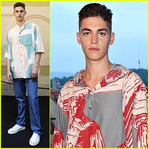 Hero Fiennes-Tiffin Wears Red & Green Version of Similiar at Salvatore Ferragamo Show in Florence
