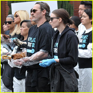 Joaquin Phoenix & Girlfriend Rooney Mara Carry Dead Animals at National Animal Rights Day Protest