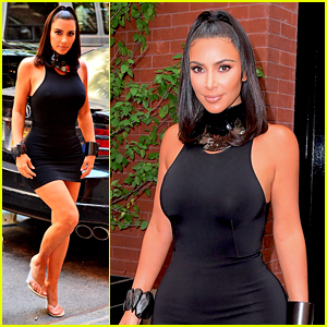 Kim Kardashian Shows Off Her Curves in Form-Fitting Mini Dress