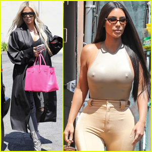 Kim Kardashian Goes Braless While Getting Lunch With Khloe