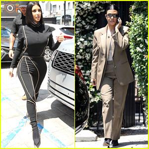 Kim & Kourtney Kardashian Meet Kris Jenner for Lunch While Filming 'KUWTK'