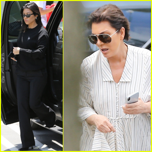 Kourtney Kardashian & Kris Jenner Step Out for Kanye West's Sunday Service