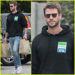 Liam Hemsworth Rocks Printed Sneakers for Family Lunch in Malibu