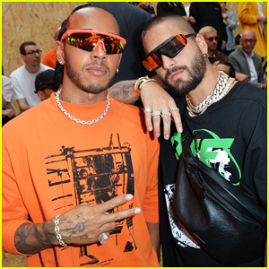 Maluma & Lewis Hamilton Buddy Up at Off-White Paris Fashion Show!