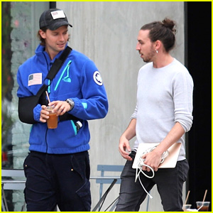 Patrick Schwarzenegger Meets Up With a Friend For Coffee