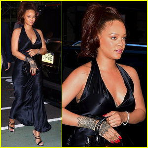 Rihanna Slips Into Black Dress for Party in NYC