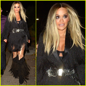 Rita Ora Rocks Fringe Outfit for Night Out in London!