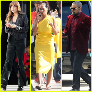Dakota Johnson, Tracee Ellis Ross & Ice Cube Arrive to the Set of Upcoming Movie 'Covers'!