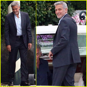 George Clooney Admires the View While Headed to Dinner in Lake Como