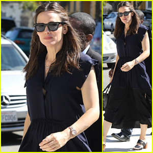 Jennifer Garner Looks Pretty in a Navy Blue Dress While Heading to Church