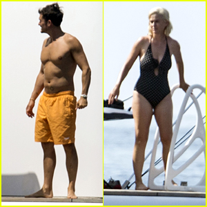 Katy Perry & Fiance Orlando Bloom Go for a Swim Together on Vacation in Spain