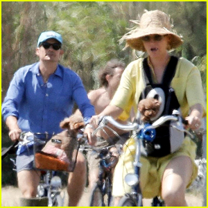 Katy Perry & Orlando Bloom Bring Their Dogs on a Bike Ride in France!
