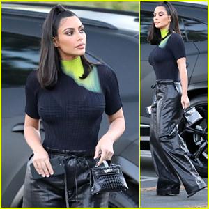 Kim Kardashian Wears Wide-Leg Leather Pants on a Shopping Trip