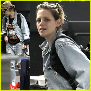 Kristen Stewart Dons Double Denim for Flight Out of LAX