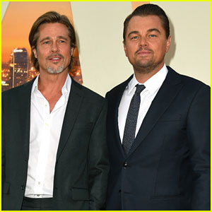 Leonardo DiCaprio & Brad Pitt Suit Up for 'Once Upon a Time in Hollywood' Premiere