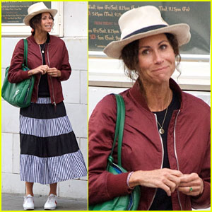 Minnie Driver Rocks Striped Skirt Outside the Movies With Friends