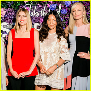 Olivia Munn Sports Sheer Lacy Mini Dress at Create & Cultivate Event