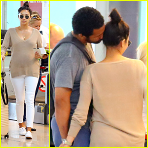 Pregnant Shay Mitchell Gets Kisses From Partner Matte Babel At The Airport