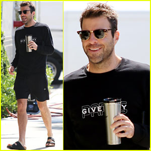 Zachary Quinto Pairs Givenchy Sweater With Birkenstocks While Out in LA