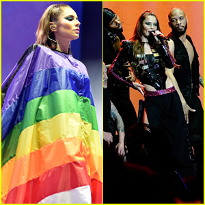 Cheryl Drapes Herself in Rainbow Flag at Manchester Pride!