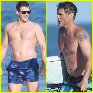 Chris Pratt & Rob Lowe Spend the Day at the Beach in Santa Barbara!