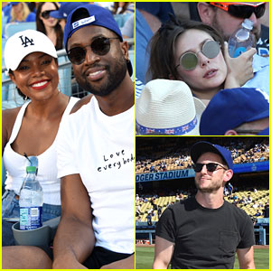 Elizabeth Olsen, Jamie Bell, & Gabrielle Union Enjoy Dodgers Game!