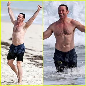 Hugh Jackman Can't Stop Celebrating While Taking a Shirtless Swim!