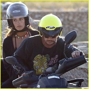 James Franco & Girlfriend Isabel Pakzad Ride a Quad Bike at the Beach in Mykonos