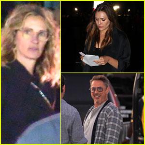 Julia Roberts, Robert Downey Jr., & Elizabeth Olsen Attend Rolling Stones Concert