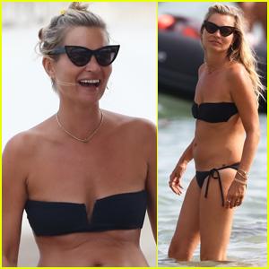 Kate Moss Rocks a Black Bikini on Vacation in Saint-Tropez!